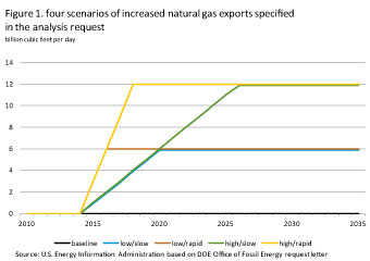 Figure 1. Four scenarios of increased natural gas exports specified in the analysis request