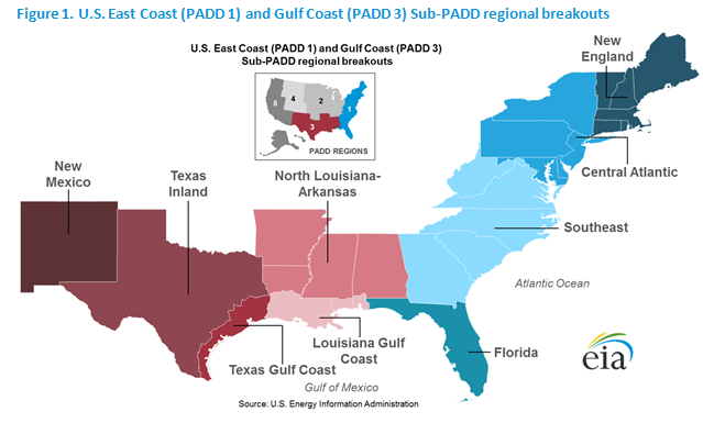 East Coast And Gulf Coast Transportation Fuels Markets Energy - Us-east-region-map