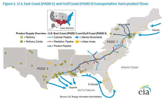 U S East Coast Padd 1 And Gulf Coast Padd 3