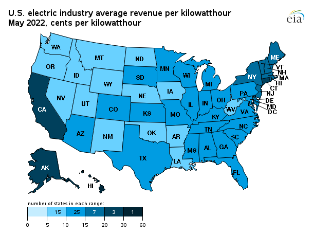 Map Showing U S Electric Industry Average Revenue Per Kilowatthour By State