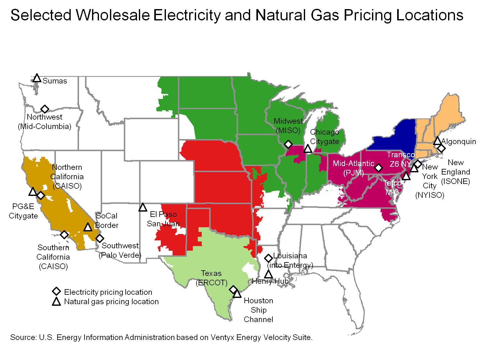 Selected Wholesale Electricity And Natural Gas Pricing Locations