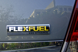 A photograph of a typical E85 badge or plaque on a car used to identify flexible-fuel vehicles in the United States