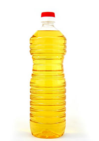 Vegetable oil in a bottle