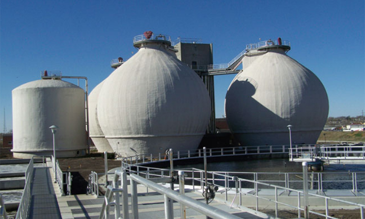A photograph of anaerobic digesters at the Lincoln, Nebraska wastewater-treatment facility.