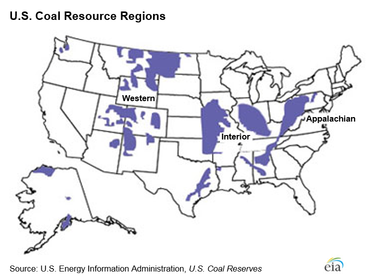Map showing U.S. coal resource regions