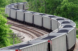 Picture of coal being transported by rail.
