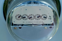 Picture of a residential electricity meter.