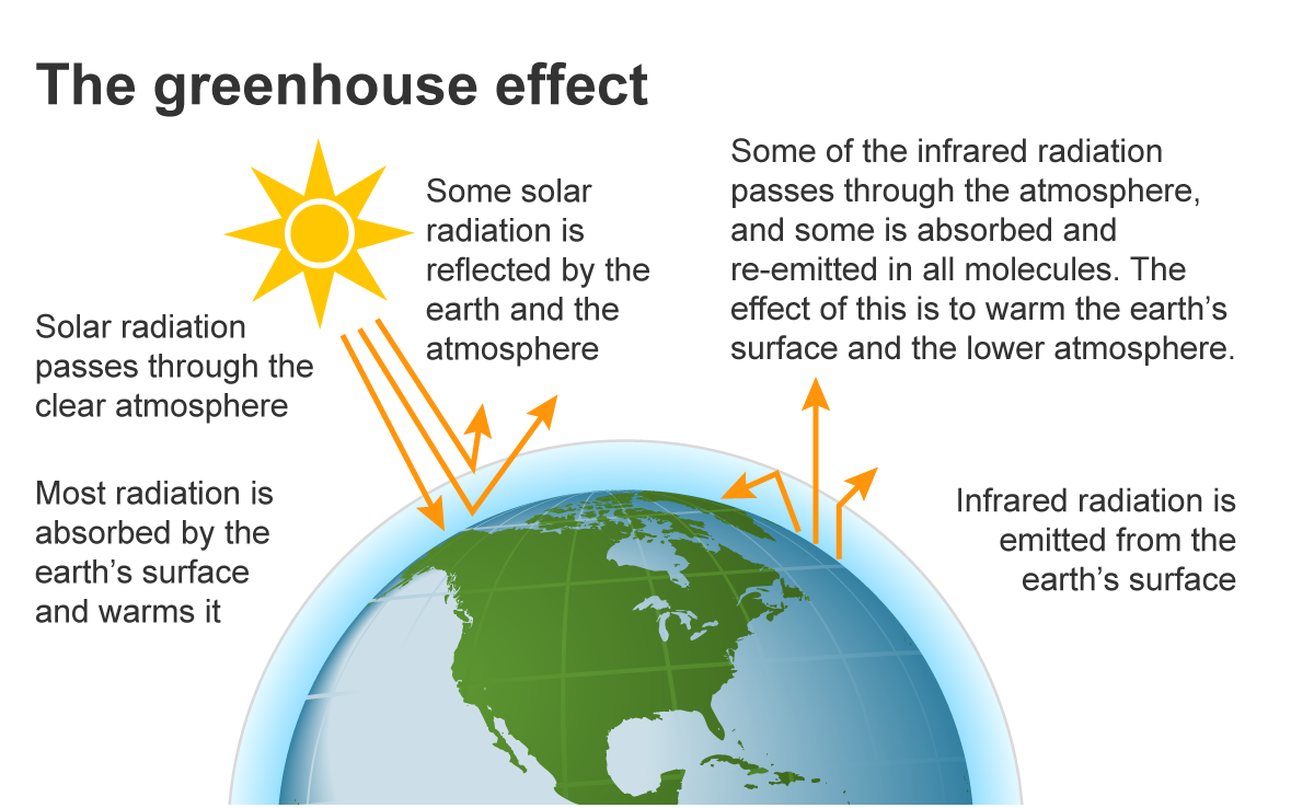 Image of the Earth showing the steps involved in the Greenhouse Effect. 1. Solar radiation passes through the clear atmosphere.  2. Most radiation is absorbed by the Earth's surface and warms it.  3. Some solar radiation is reflected by the Earth and the atmosphere.  4. Some of the infrared radiation passes through the atmosphere, and some is absorbed and re-emitted in all directions by greenhouse gas molecules. The effect of this is to warm the Earth's surface and the lower atmosphere.  5. Infrared radiation is emitted from the Earth's surface.