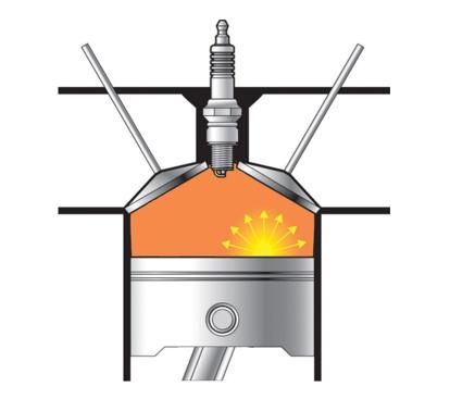 Изображение цилиндра двигателя при преждевременном зажигании.