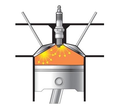 Изображение цилиндра двигателя при самовозгорании, вызывающем детонацию.