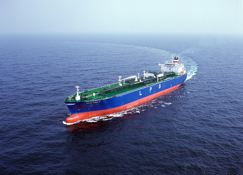 Image of an ocean-going tanker ship transporting liquefied petroleum gas
