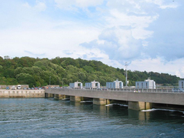 Dam of the tidal power plant on the estuary of the Rance River, Bretagne, France