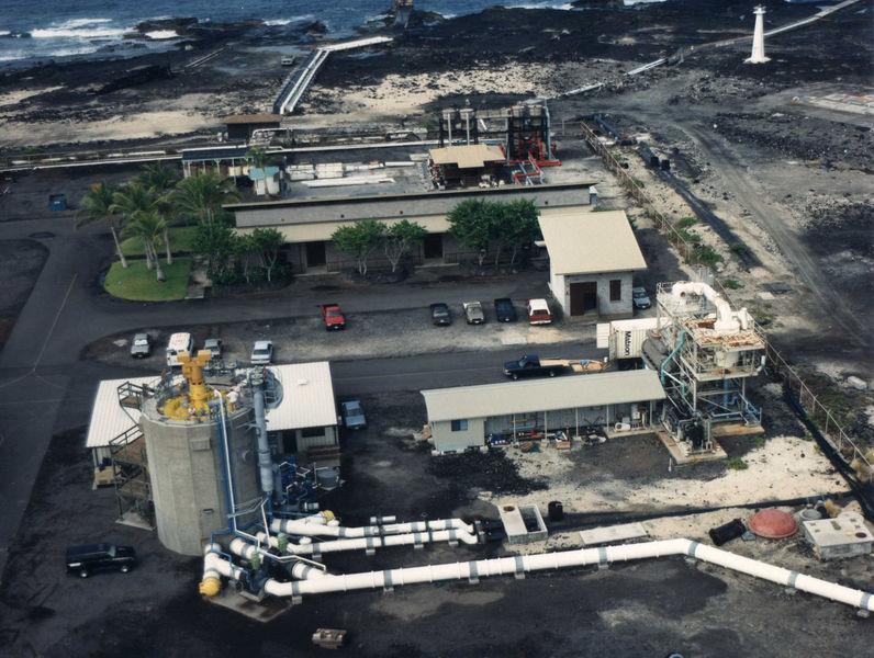 An aerial photo of OTEC Plant on the Kona Coast of Hawaii