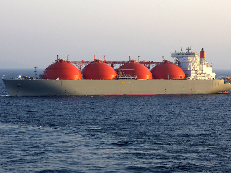 A photograph of an ocean-going ship transporting liquefied natural gas (LNG)