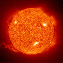 The sun is basically a giant ball of hydrogen gas undergoing fusion and giving off vast amounts of energy in the process.