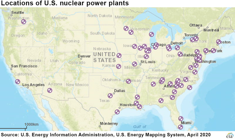 Map of United States showing approximate locations of U.S. nuclear power plants as of April 2020
