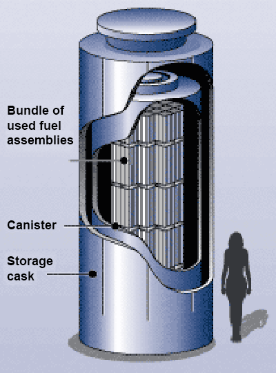 A dry storage cask for storing spent nuclear reactor fuel