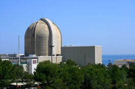 A photo of nuclear power plant with a reactor containment dome.