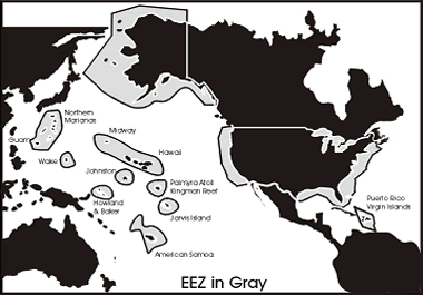 Map showing Exclusive Economic Zone around the United States and Territories