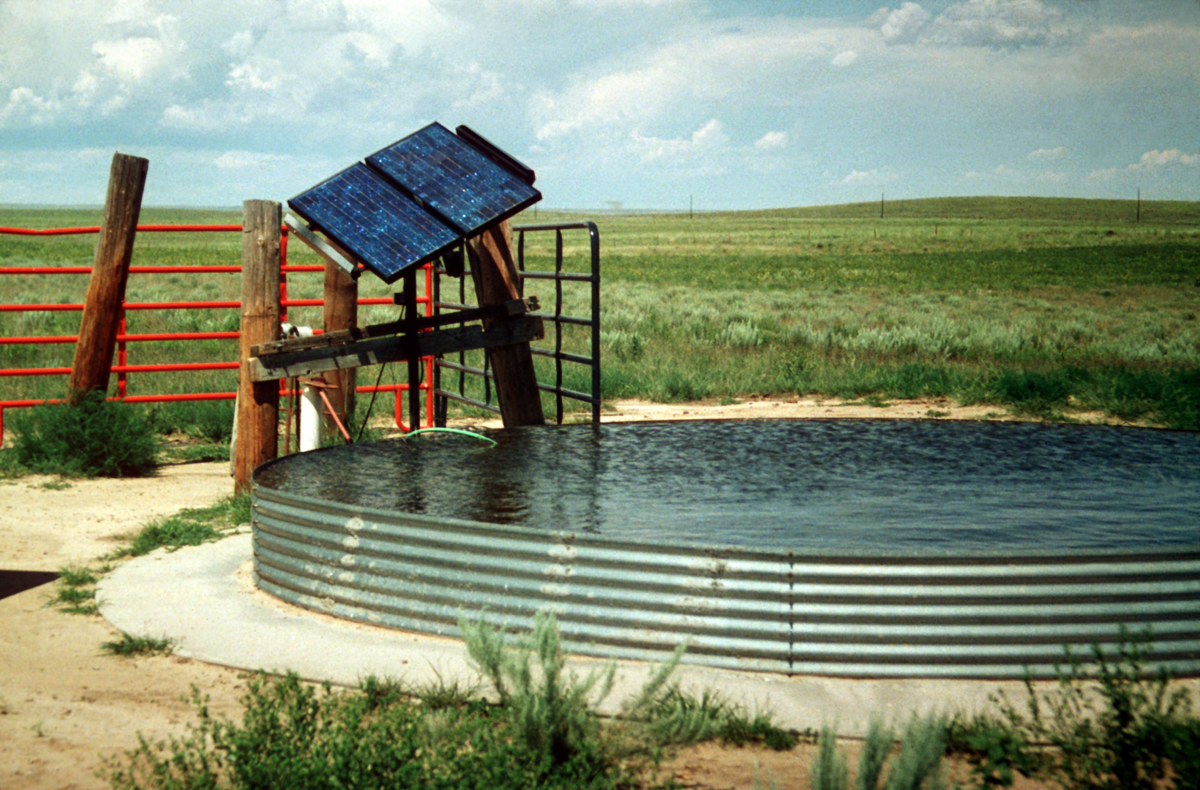 Image of how a solar photovoltaic water pumping system for livestock in a remote location.