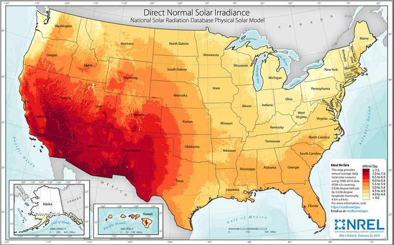Map of the United states showing annual direct normal (solar) irradiance with the largest levels in the southwestern United States.