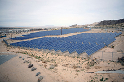 An array of solar panels supplies energy for necessities at Marine Corps Air Ground Combat Center in Twentynine Palms, Calif.