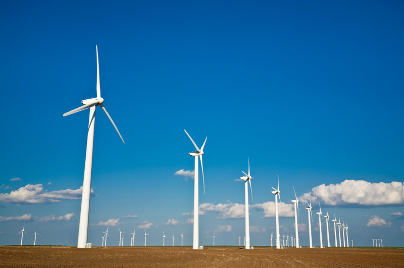Horizontal-axis wind turbines on a wind farm