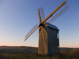 Traditional dutch-type windmill.