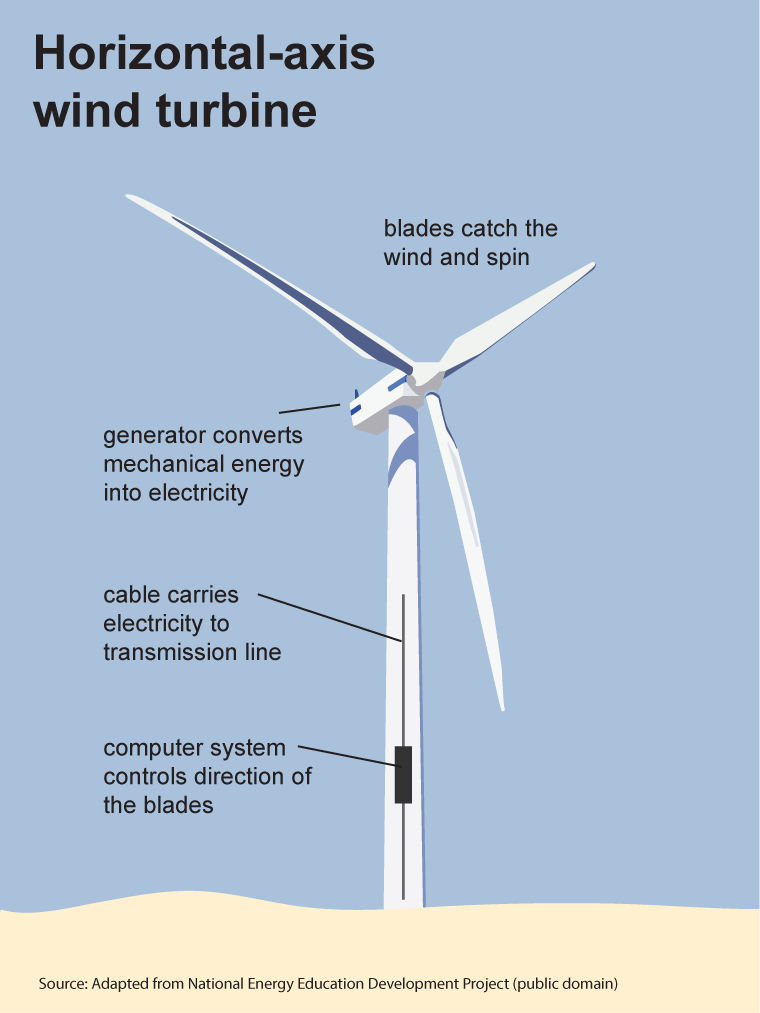 Image of a Horizontal-Axis Wind Machine. Blades catch the wind and spin. Generator converts mechanical energy into electricity. Cable carries electricity to transmission line. Computer system controls direction of the blades.