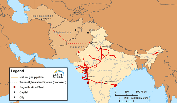 Map of India natural gas infrastructure