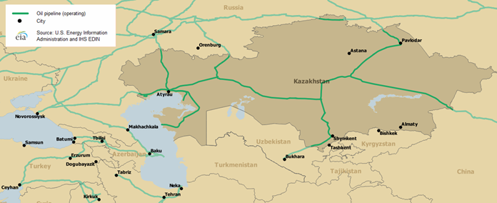 Map of major Caspian oil and natural gas export routes