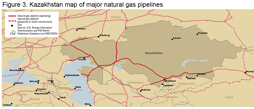 Figure 6. Kazakhstan map of major natural gas pipelines