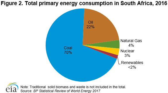 Figure 2. Total primary energy consumption in South Africa, 2016