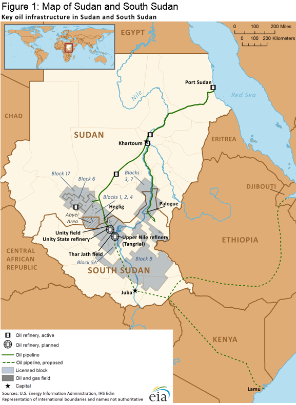 Figure 1. Map of Sudan and South Sudan