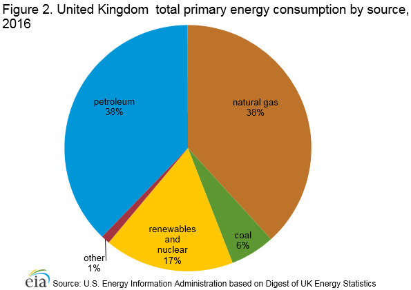 Figure 2. United Kingdom  total primary energy consumption by source, 2016