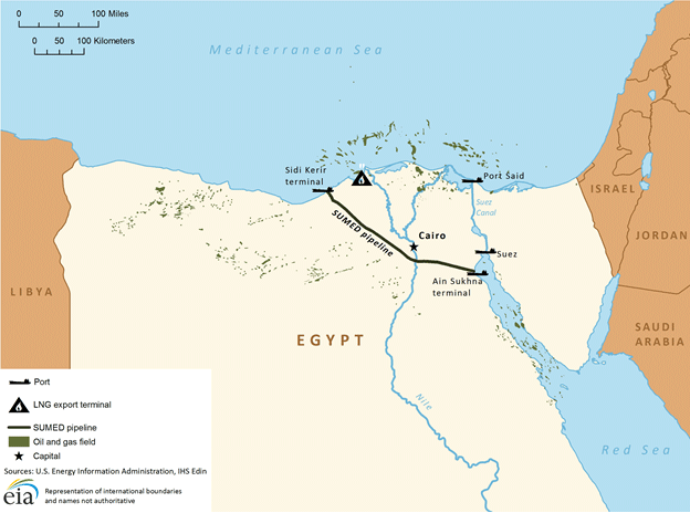 Map of Suez Canal/SUMED pipeline