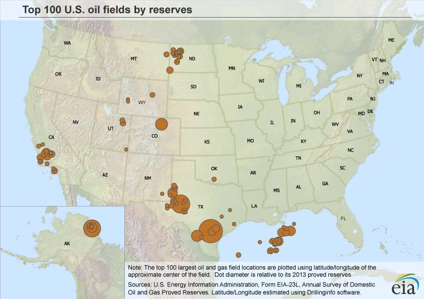 top 100 gas fields top crude oil producing states