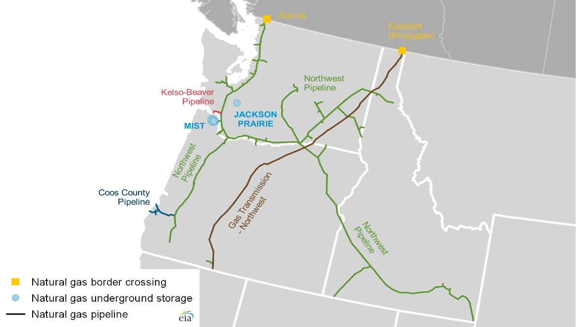 Selected U.S. Pacific Northwest natural gas infrastructure
