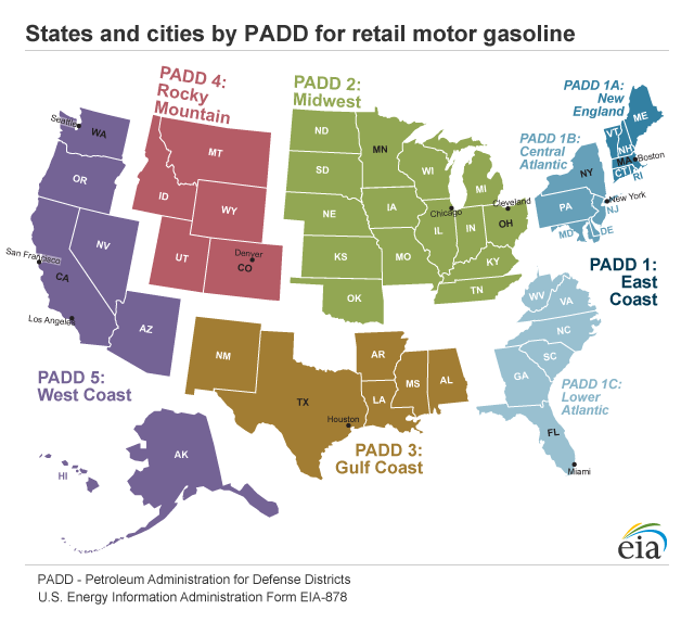 A map of the United States showing the cost of average regular grade gasoline at retail outlets, by region, for 2014. By region: New England $3.47; Central Atlantic $3.43; Lower Atlantic $3.28; Gulf Coast $3.14; Midwest $3.30; Rocky Mountains $3.33; and West Coast $3.65.
