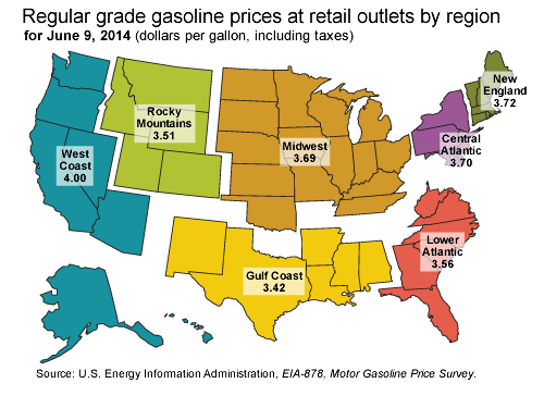 2014 Gas Prices by State Map