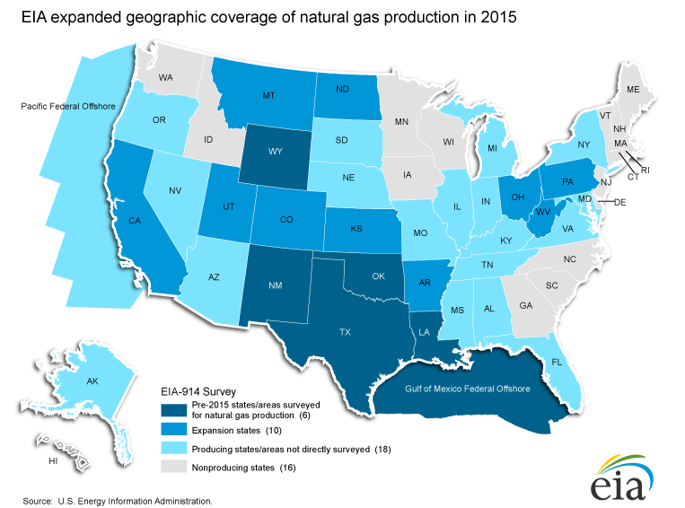 EIA Monthly Production Report - Oil from texas in us map
