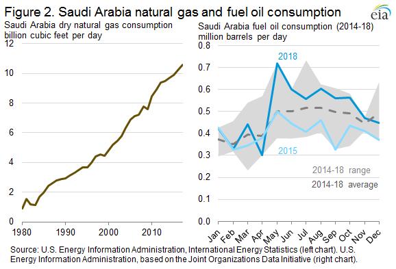 Figure 2. Saudi Arabi natural gas and fuel oil consumption