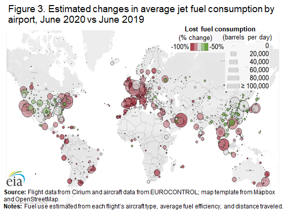 Figure 3. Estimated changes in average jet fuel consumption by airport, June 2020 vs June 2019
