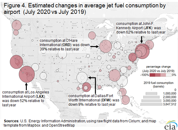 Figure 4. Estimated changes in average jet fuel consumption by airport  (July 2020 vs July 2019)