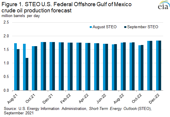 Figure 1. STEO U.S. Federal Offshore Gulf of Mexico crude oil production forecast