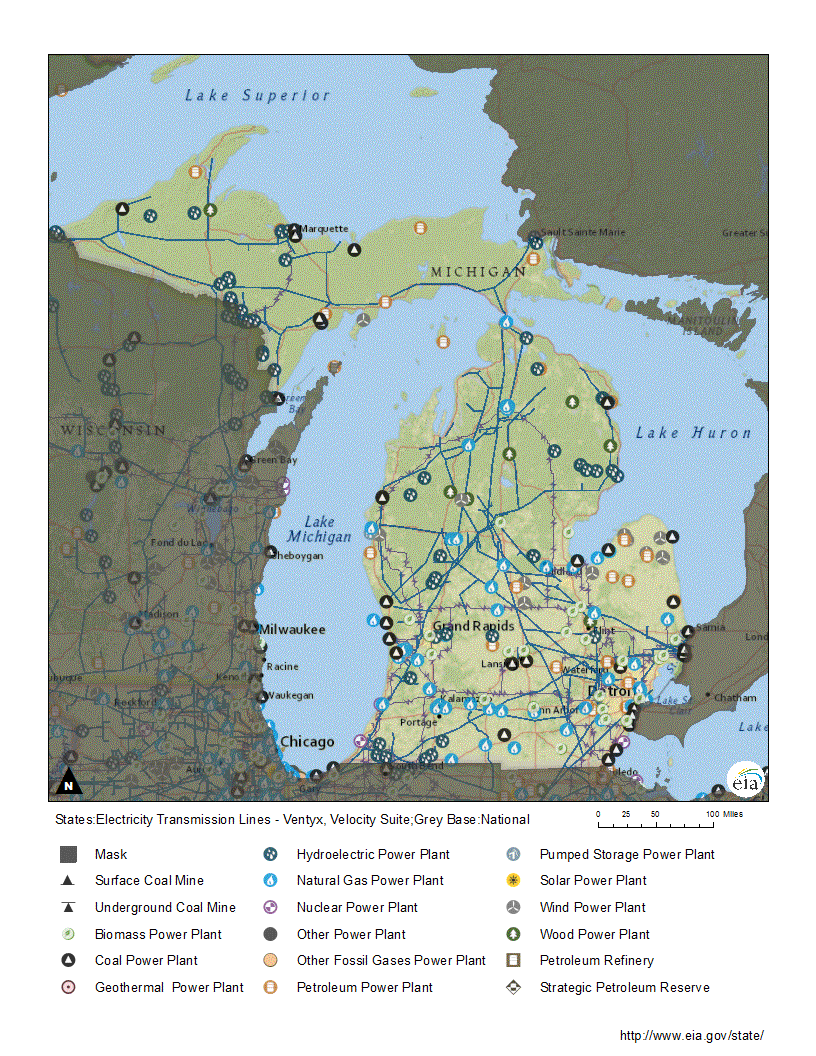 Michigan Profile Hydroelectric Power Plant Flow Diagram Map