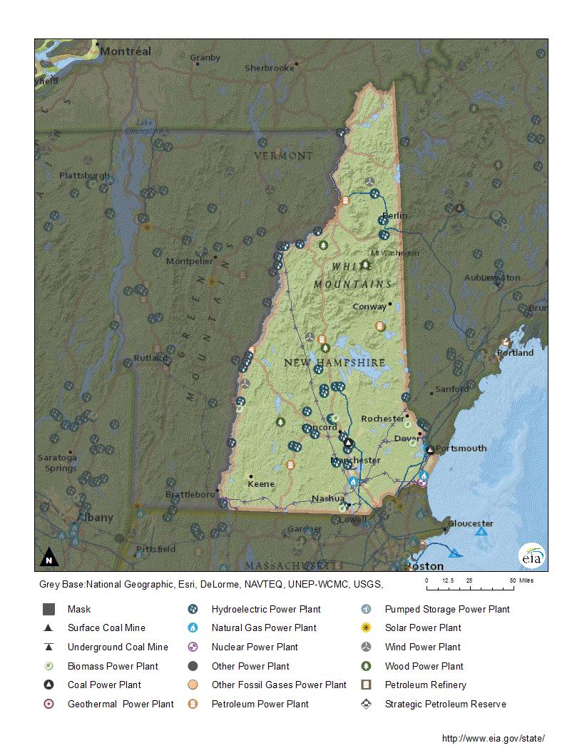 New Hampshire Profile - New hampshire population map