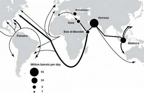 map of global oil checkpoints, as described in the article text