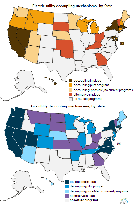 Decoupling Treatment Of Electric And Gas Utilities Can Differ Within - Us-electric-utility-map