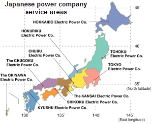 Map Of Japanese Power Company As Described In The Article Text